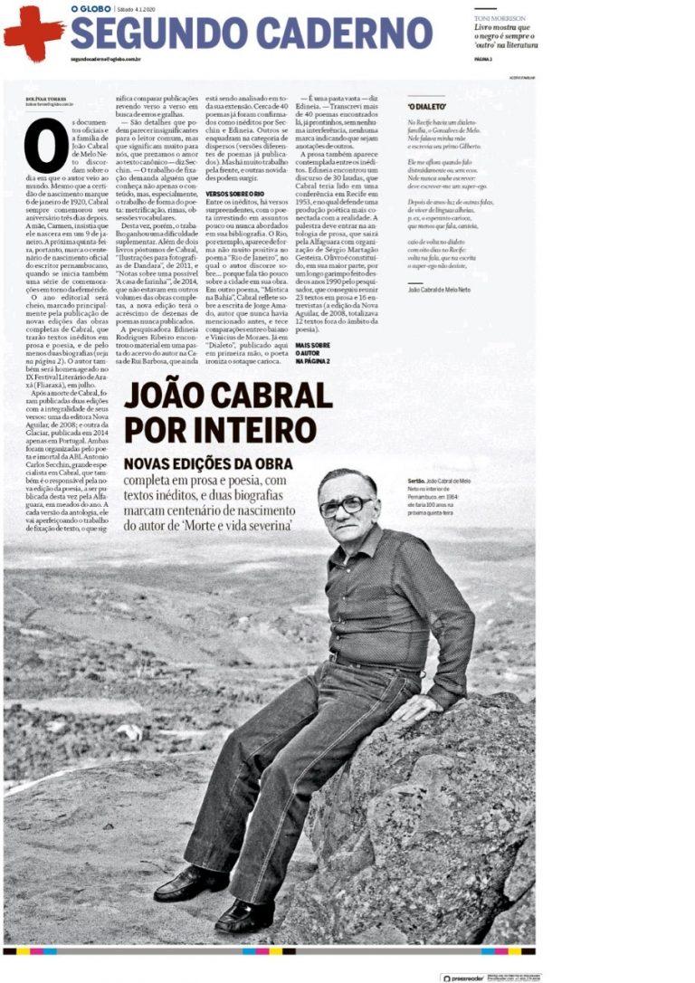 O Globo destaca a homenagem do IX Fliaraxá a João Cabral de Melo Neto